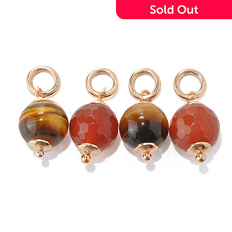 133-216 - Portofino 18K Gold Embraced™ Set of Two Interchangeable Tiger's Eye & Carnelian Charm Beads