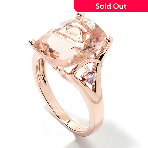 133-225 - Gem Treasures® 14K Rose Gold 6.07ctw Morganite & Pink Sapphire Split Shank Ring