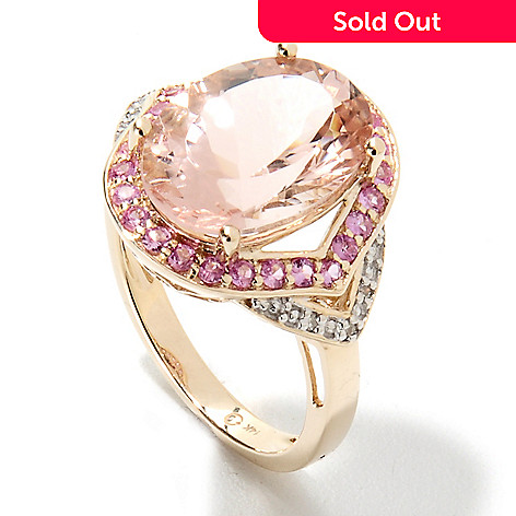 133-226 - Gem Treasures® 14K Gold 5.40ctw Oval Morganite, Pink Sapphire & Diamond Ring