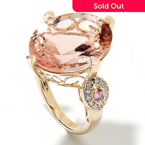 133-227 - Gem Treasures® 14K Gold 15.40ctw Morganite, Diamond & Pink Sapphire Scrollwork Ring