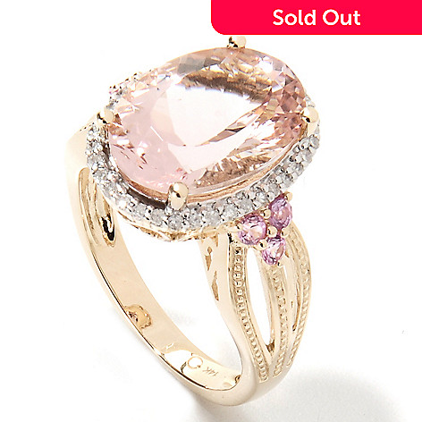 133-232 - Gem Treasures® 14K Gold 5.40ctw Morganite, Diamond & Pink Sapphire Halo Ring