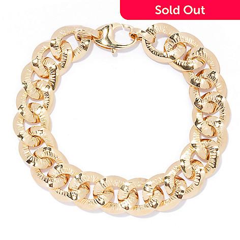 133-240 - Stefano Oro 14K Gold Textured & Polished Finish Curb Link Bracelet