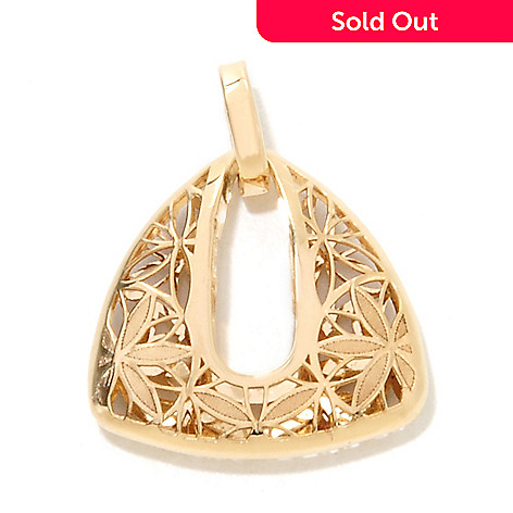 133-245 - Italian Designs with Stefano 14K Gold Open Work Ricami Floral Triangle Pendant