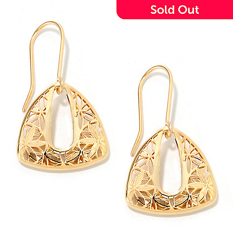 133-246 - Italian Designs with Stefano 14K Gold 1'' Ricami Floral Triangle Earrings