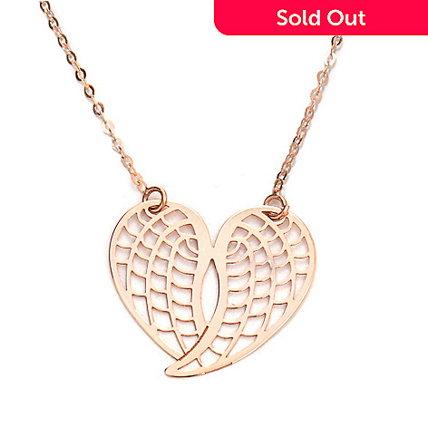 133-249 - Italian Designs with Stefano 14K Gold 18'' Angel Wings Heart Necklace, 1.04 grams
