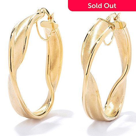 133-251 -  Italian Designs with Stefano 1.5'' 14K Gold Satin Finished Twisted Hoop Earrings