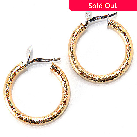 133-252 - Italian Designs with Stefano 14K Two-tone Gold 1'' Textured Hoop Earrings