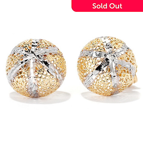 133-253 -  Italian Designs with Stefano 14K Two-tone Gold Diamond Cut Stud Earrings