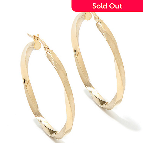 133-267 -  Italian Designs with Stefano 14K Gold 1.5'' Twisted Hoop Earrings