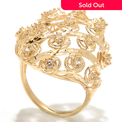 133-270 - Italian Designs with Stefano 14K Gold White Topaz Oval Openwork Ring