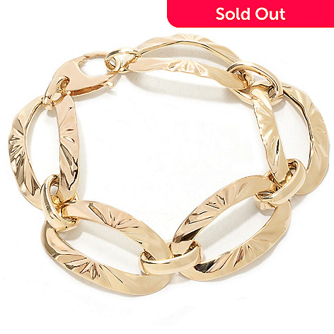 133-271 - Italian Designs with Stefano 14K Gold 7.5'' Wavy Oval Link Bracelet, 8.74 grams