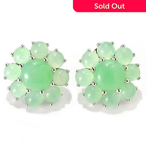 133-285 - Gem Insider™ Sterling Silver 7mm Chrysoprase Flower Earrings