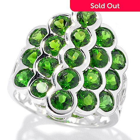 133-288 - Gem Insider® Sterling Silver 3.52ctw Round Chrome Diopside Multi Level Ring