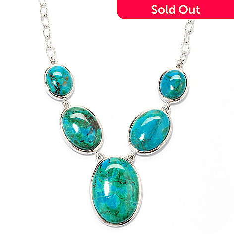 133-291 - Gem Insider™ Sterling Silver 18'' Chrysocolla Y-Drop Necklace w/ 3'' Extender
