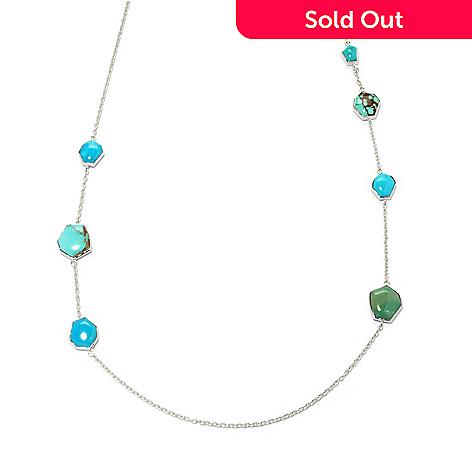 133-292 - Gem Insider™ Sterling Silver 27'' Freeform American Turquoise Station Necklace