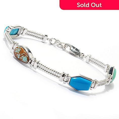 133-293 - Gem Insider Sterling Silver 7.5'' American Turquoise Hinged Station Bracelet