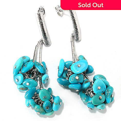 133-295 - Gem Insider™ Sterling Silver 2.25'' American Turquoise Cluster Drop Earrings