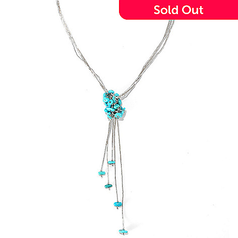 133-296 - Gem Insider™ Sterling Silver 18'' American Turquoise Cluster Drop Necklace