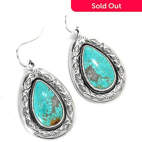 133-297 - Gem Insider Sterling Silver 1.5'' 18 x 10mm #8 Turquoise Teardrop Earrings