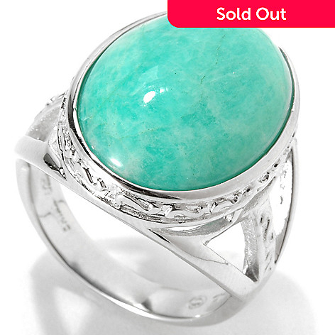 133-303 - Gem Insider™ Sterling Silver 18 x 13mm Oval Amazonite Split Shank Ring