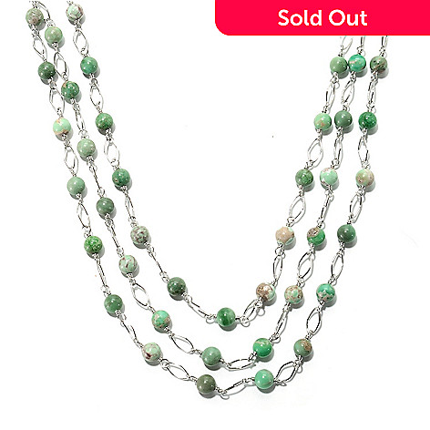 133-304 - Gem Insider™ Sterling Silver 18'' Utah Variscite Three-Strand Station Necklace
