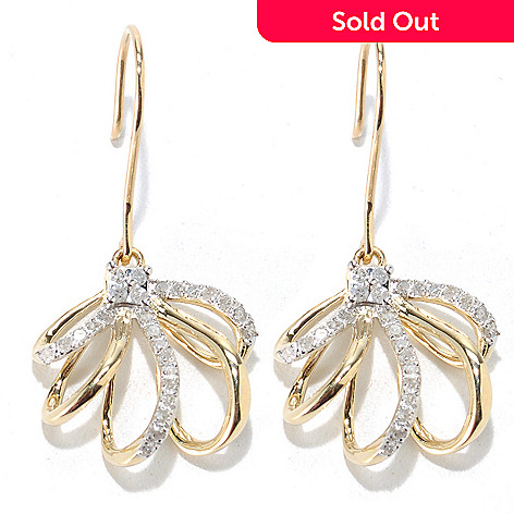 133-314 - Diamond Treasures 14K Gold 1'' 0.25ctw Diamond Multi Loop Dangle Earrings