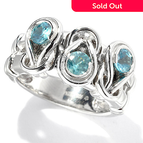 133-325 - Gem Treasures Sterling Silver 1.20ctw Blue Zircon Love Knot Band Ring