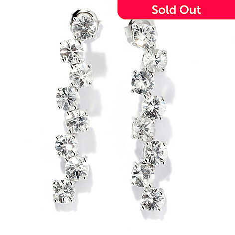 133-326 - Gem Treasures® Sterling Silver 1.25'' 6.38ctw White Zircon Wavy Drop Earrings