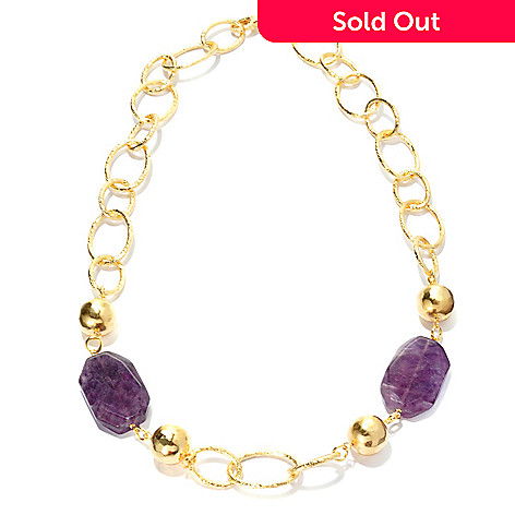 133-327 - Toscana Italiana Gold Embraced™ 24'' 31 x 21mm Fluorite & Round Bead Oval Link Necklace