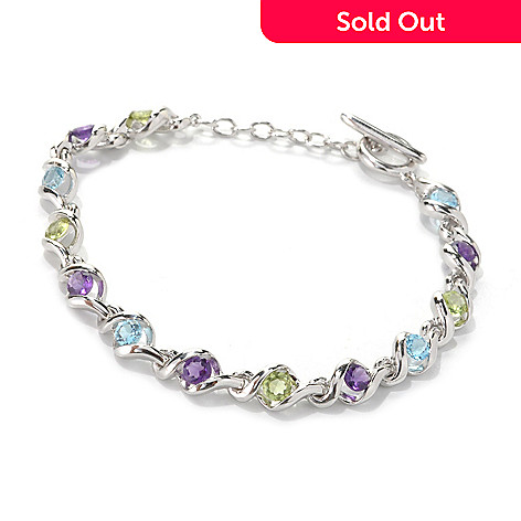 133-342 - Gem Insider® Sterling Silver 7.5'' 2.95ctw Multi Gem Twisted Link Bracelet
