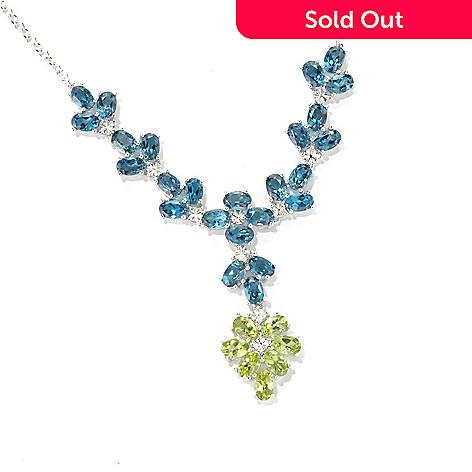 133-343 - Gem Insider™ Sterling Silver 16'' 16.00ctw Blue Topaz & Peridot Drop Necklace