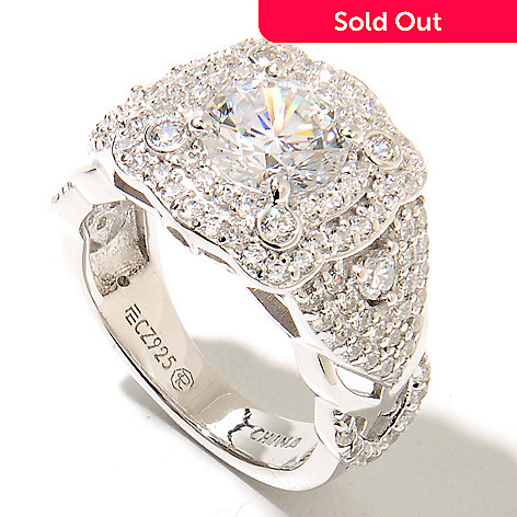 133-347 - RITANI Platinum Embraced™ 3.01 DEW Simulated Diamond Fancy Scalloped Double Halo Ring
