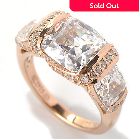 133-350 - RITANI® 6.01 DEW Cushion Cut Tension Set Simulated Diamond Three-Stone Ring
