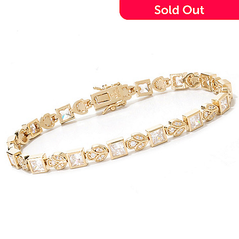 133-352 - RITANI™ Bezel Set Princess Cut Simulated Diamond Flower Station Line Bracelet