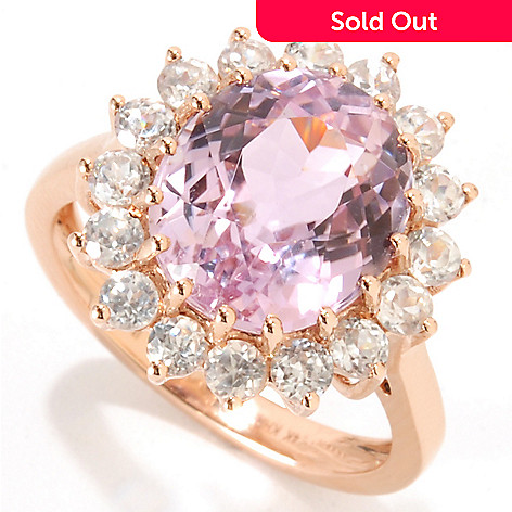 133-356 - Gem Treasures® 14K Rose Gold 5.66ctw Kunzite & White Zircon Halo Ring