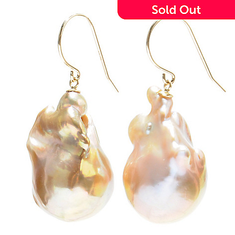 133-364 - 14K Gold 1.5'' 15-16mm Metallic Pink Freshwater Nucleated Cultured Pearl Earrings