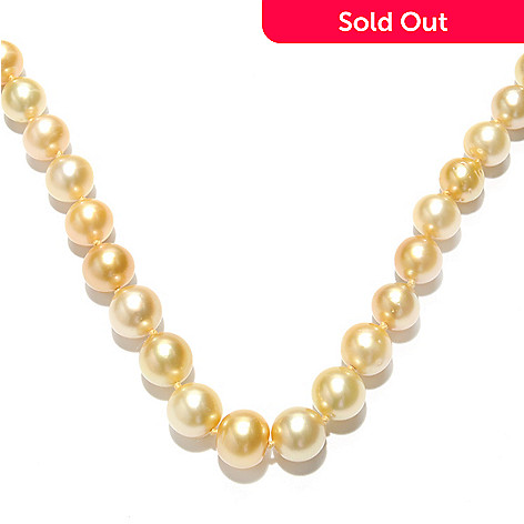 133-366 - 14K Gold 18'' 10-12mm Golden South Sea Cultured Pearl Necklace