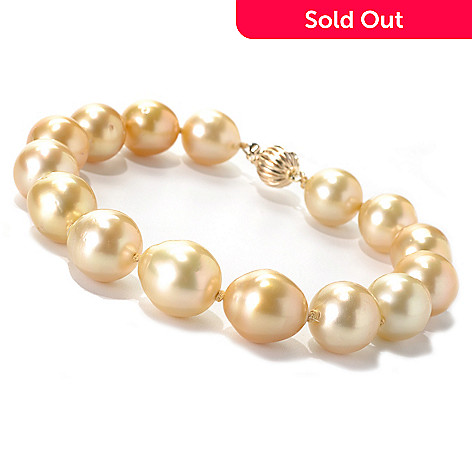 133-367 - 14K Gold 8.5'' 10-12mm Golden South Sea Cultured Pearl Bracelet