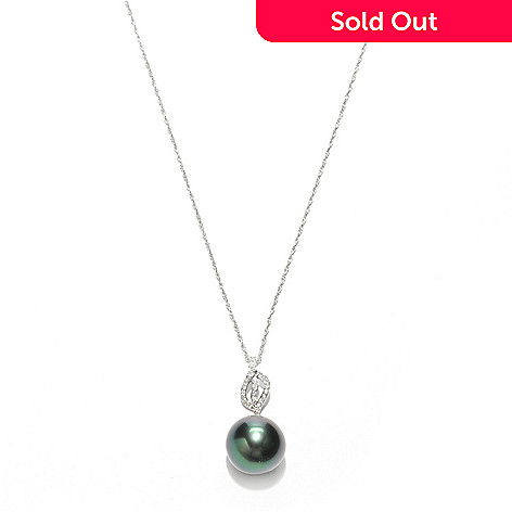 133-371 - 14K White Gold 12-13mm Black Tahitian Cultured Pearl & Diamond Pendant w/ 18'' Chain