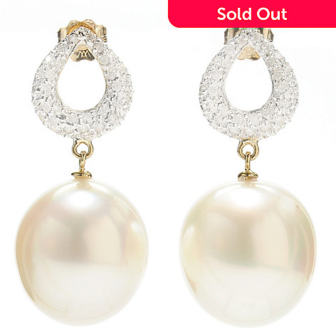 133-374 - 14K Gold 1.25'' 13-14mm South Sea Cultured Pearl & Diamond Teardrop Earrings