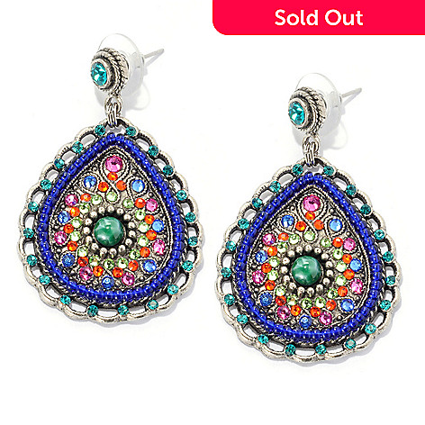 133-375 - FAITH 2'' Beaded Multi Color Crystal & Glass Teardrop Earrings