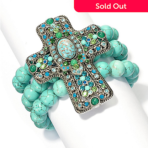 133-379 - FAITH 6'' Beaded Three-Strand Cross Bracelet