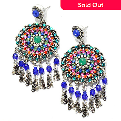 133-380 - FAITH 2.5'' Beaded Round Medallion Drop Earrings