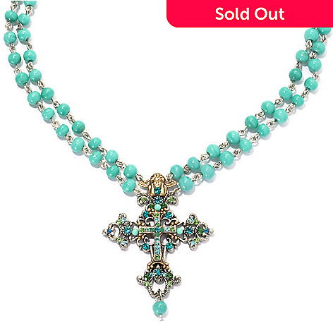 133-387 - FAITH 18'' Multi Color Glass & Crystal Beaded Double Strand Cross Necklace