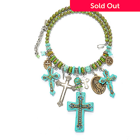 133-389 - FAITH 17'' Magnesite, Crystal & Glass Bead Multi Drop Cross Wrap Necklace