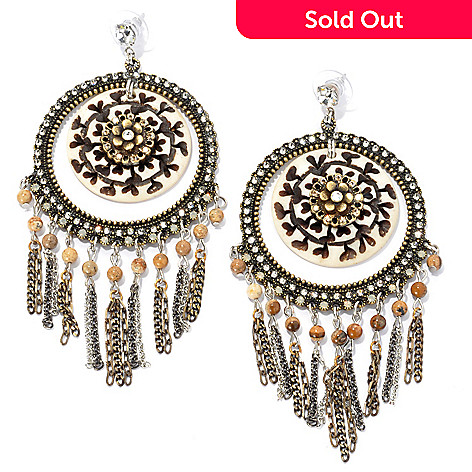 133-407 - FAITH 4'' Beaded Round Medallion Drop Earrings
