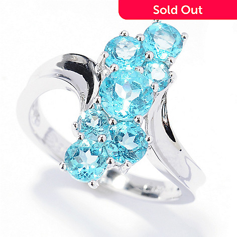 133-413 - Gem Treasures Sterling Silver 1.48ctw Blue Apatite Wave Bypass Ring