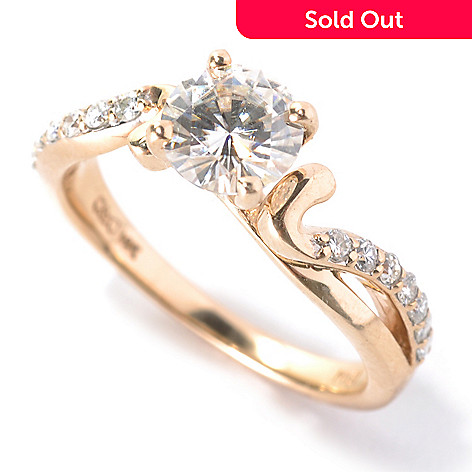 133-414 - Estrella Moissanite 14k Gold 1.21 DEW Round Wave Band Solitaire Ring