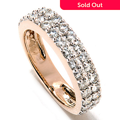 133-415 - Forever Brilliant Moissanite 14K Gold 1.10 DEW Brilliant Cut Two-Row Band Ring