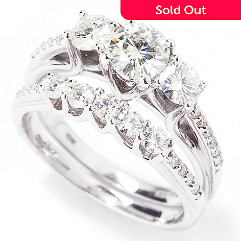 133-416 - Estrella Moissanite 14k White Gold Round Three-Stone Two-Piece Ring Set